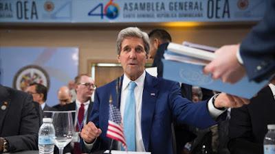 El secretario de Estado de EE.UU., John Kerry, asiste a la 46ª Asamblea General de la Organización de los Estados Americanos (OEA) en Santo Domingo, 14 de junio de 2016.