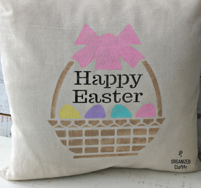 Easy DIY & Inexpensive Stenciled Easter Pillow Cover