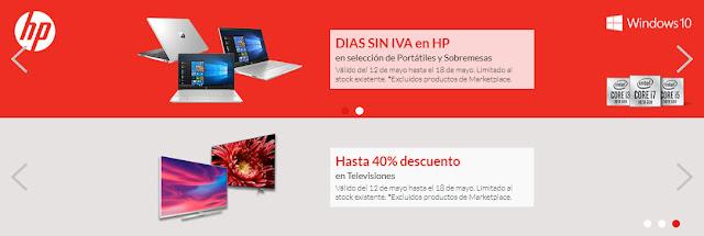 Mejores ofertas Días sin IVA en HP y Hasta 40% descuento en TVs de Worten