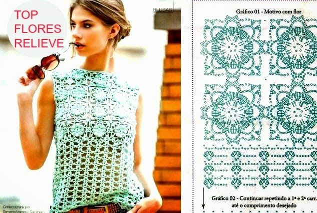 Top Crochet Flores relieve punto cuadrado