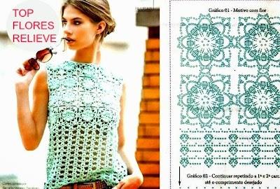 Top Crochet Flores relieve punto cuadrado
