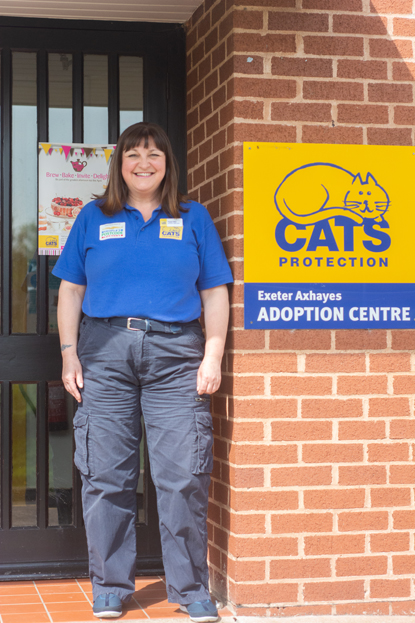 Cats Protection woman at Exeter Axhayes Adoption Centre