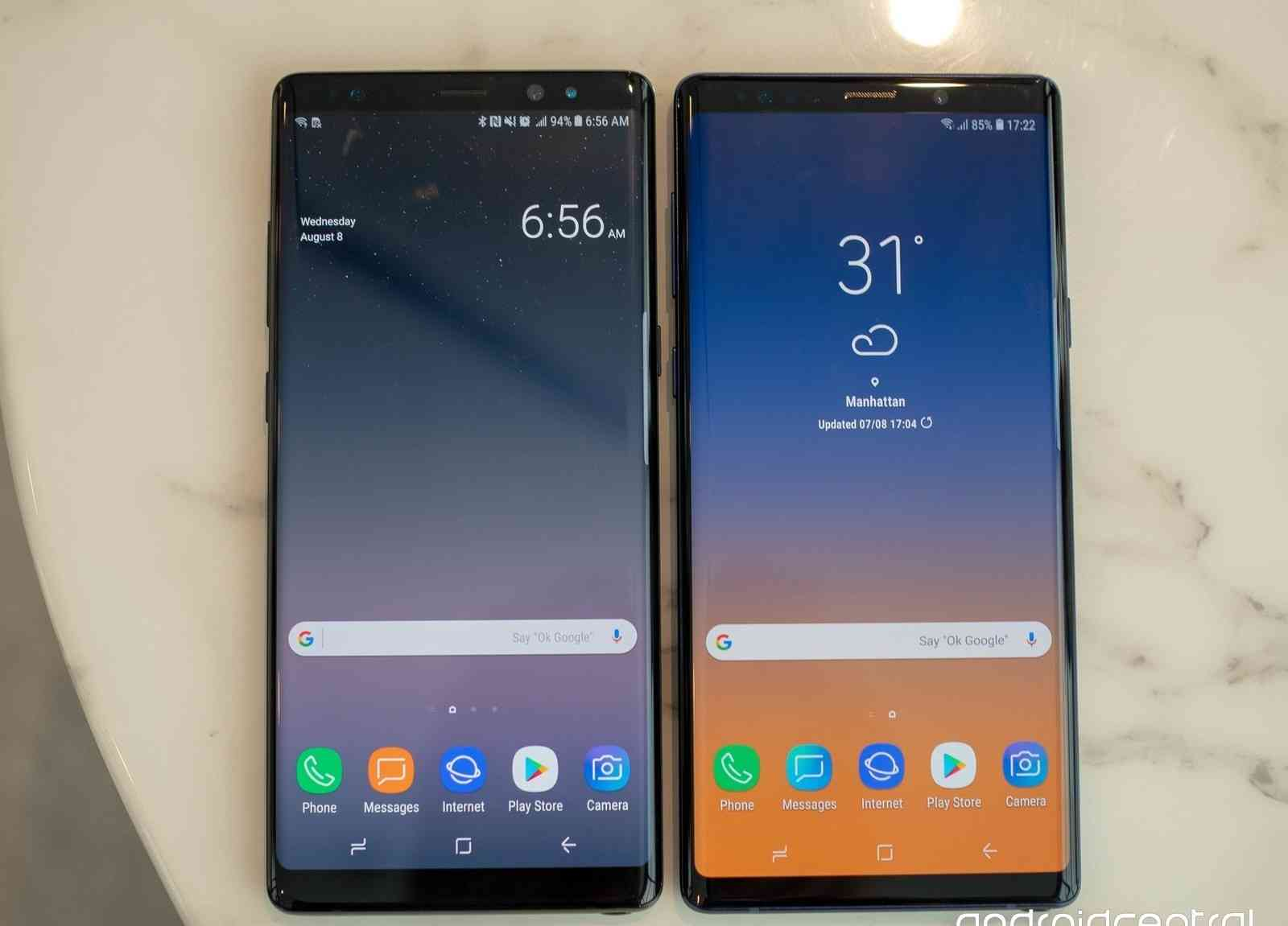 The Samsung Galaxy Note 9 Vs The Galaxy Note 8 dimensions