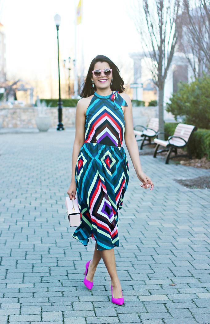 Bold, Colorful Graphic Stripe Dress, Chevron print halter neck midi dress, Retro print halter neck dress, BCBGeneration Gaminkha pumps, Hot pink pumps