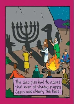 Funny Jesus Bible Cartoon - The disciples had to admit that even at shadow puppets Jesus was clearly the best