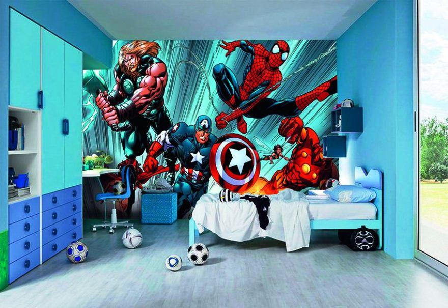 Contoh Desain Kamar Anak Cowok Dengan Wallpaper Dinding Tema Spiderman