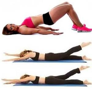 Ejercicios de elevación de cadera y patadas de nadadora para trabajar la cola y zona lumbar en mujeres