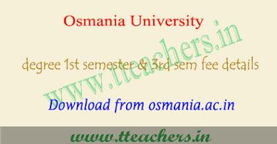 OU degree 1st sem & 3rd Semester fee last date 2017-2018