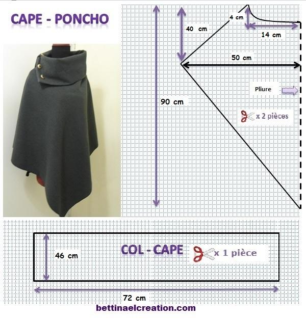 diy cape poncho tutoriel couture gratuit bettinael passion couture made in france. Black Bedroom Furniture Sets. Home Design Ideas