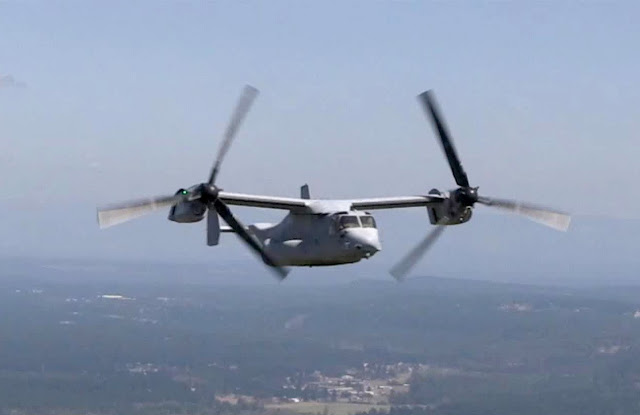 The USAF Osprey double blades helicopter.
