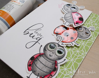 This cute card features fun ladybugs along the edge of the card front.  Using the Bug Love stamp set from Fun Stampers Journey - a Journey Rewards Exclusive set that you can earn for FREE with an order of $150 or more.