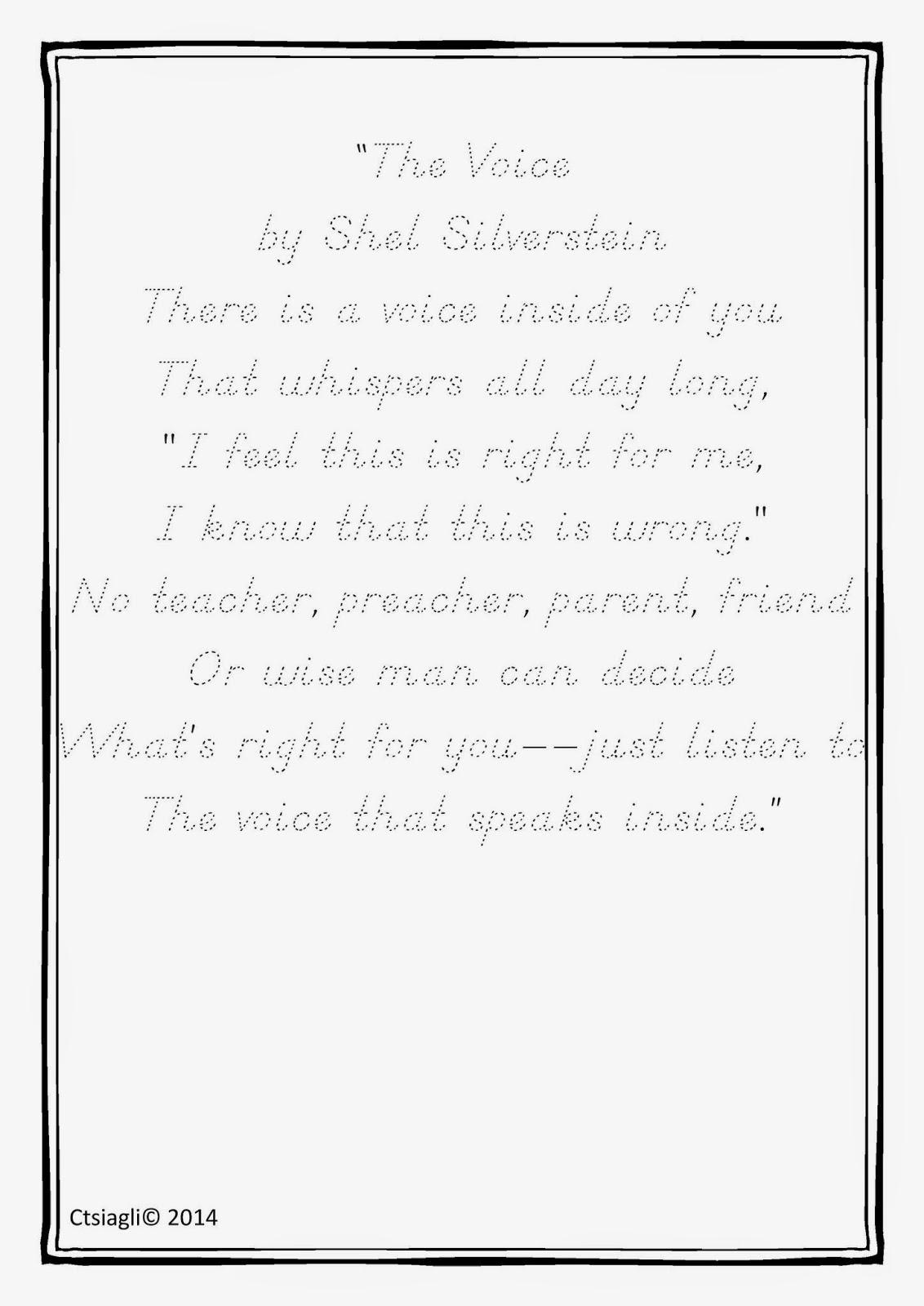 I,Teacher: Calligraphy Club: Shel Silverstein Handrwriting