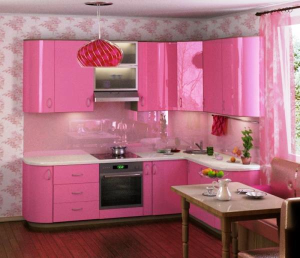 dapur warna pink minimalis