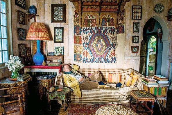 Umberto Pasti In His Study Among Old Books Textiles And Tiles Tangier Morocco