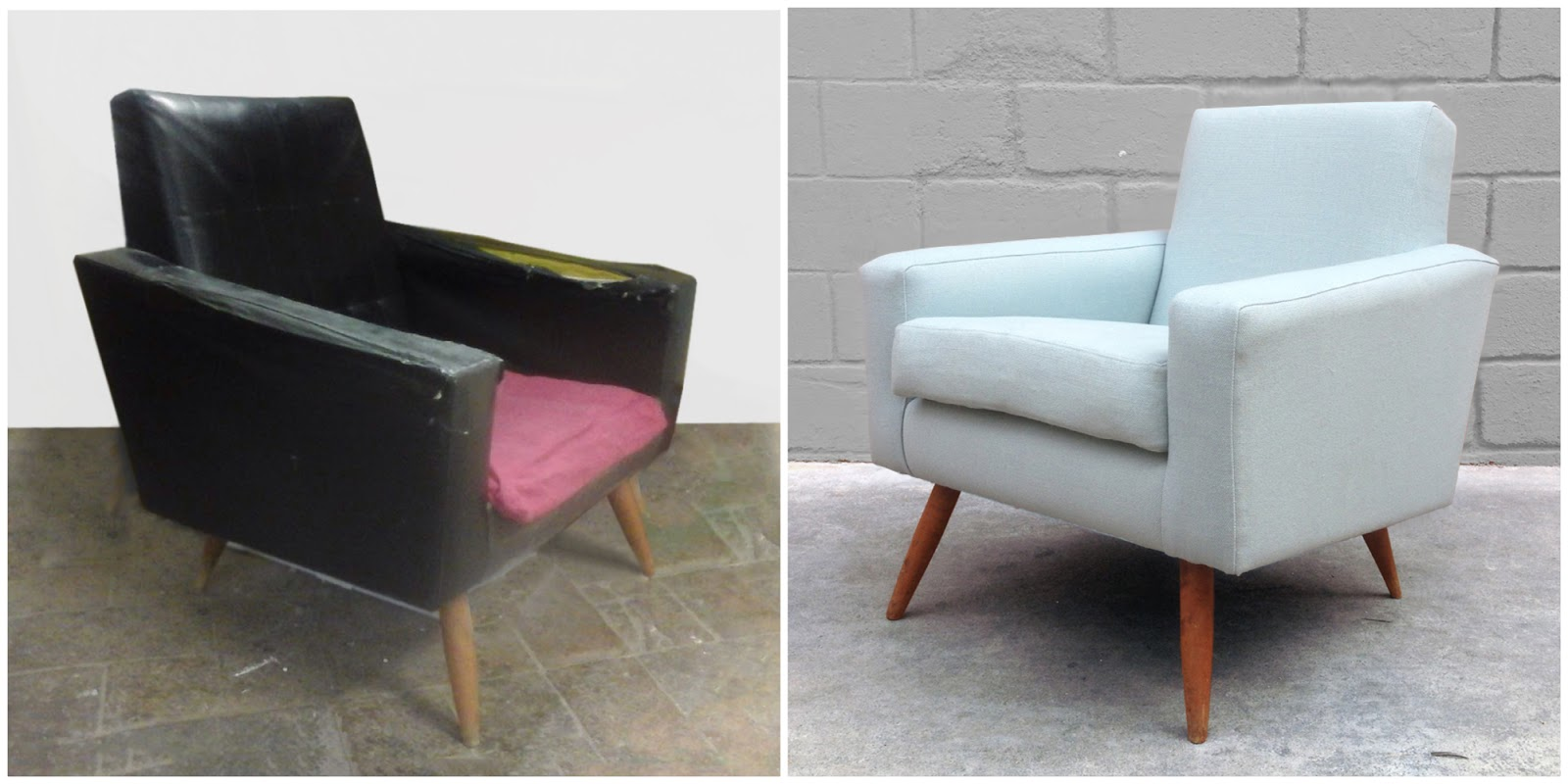 Antes y después - Un sillón de polipiel negro retapizado en azul sereno