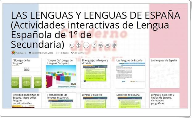 """11 Actividades interactivas sobre LAS LENGUAS Y LENGUAS DE ESPAÑA en 1º de Secundaria"""