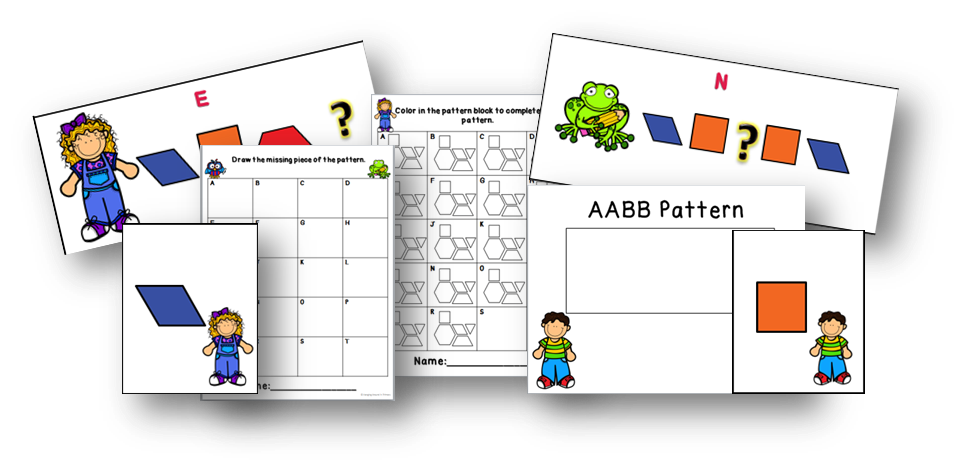 http://www.teacherspayteachers.com/Product/Patterning-Centers-for-the-Primary-Grades-1464637