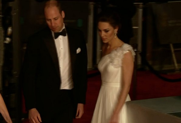 Kate Middleton, the Duchess of Cambridge wearing Princess Diana's pearl earrings, Alexander McQueen one shoulder gown