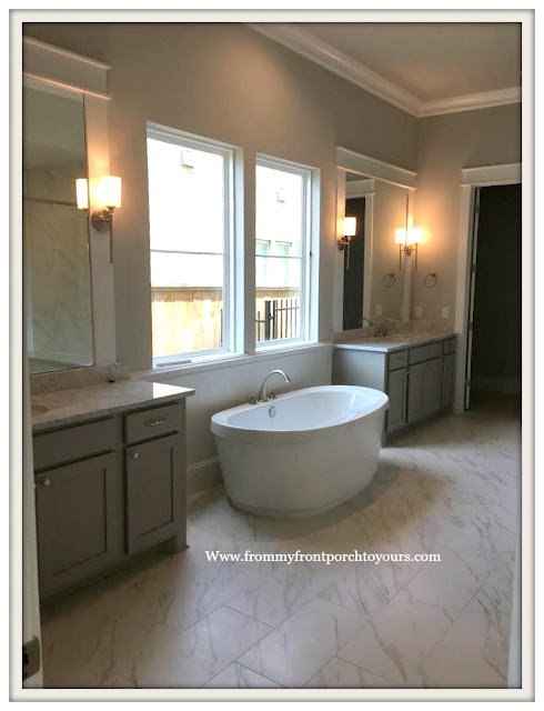 New Construction-Open House-Southern Style-Master Bath-Gray and White Bathroom-Home-From My Front Porch To Yours
