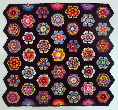 Robin Atkins, Frida's Flowers, all blocks joined with crocheted slip stitch