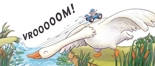 Image of the mouse in the blue racecar crossing a stream  by using the neck of a white goose as a ramp.
