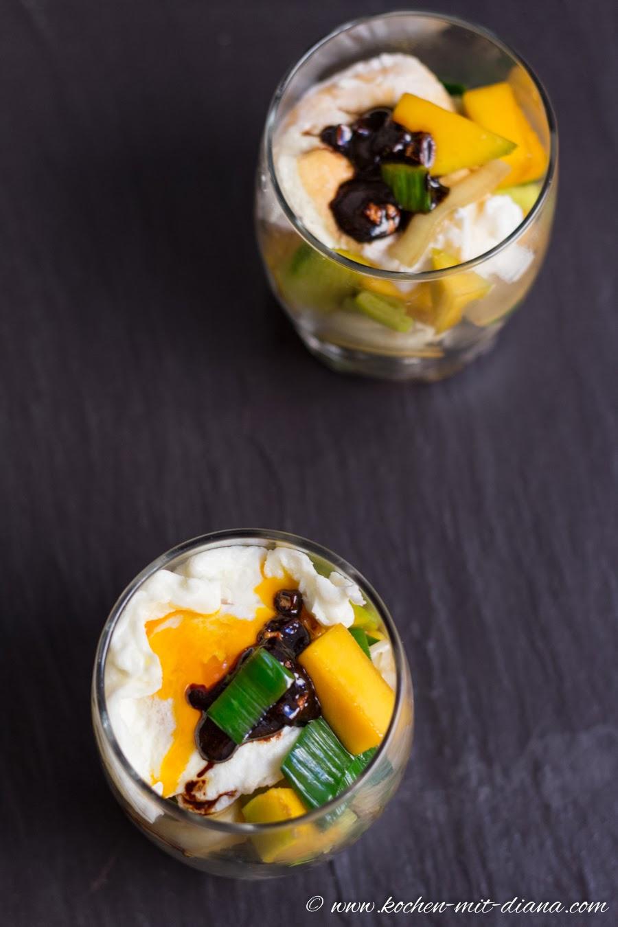Mango-Lauch Salat im Glas