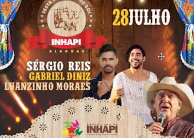 Shows de Luanzinho Morais e Banda e Gabriel Diniz na 10ª edição do Carro de Boi em Inhapi vão custar R$ 110 mil