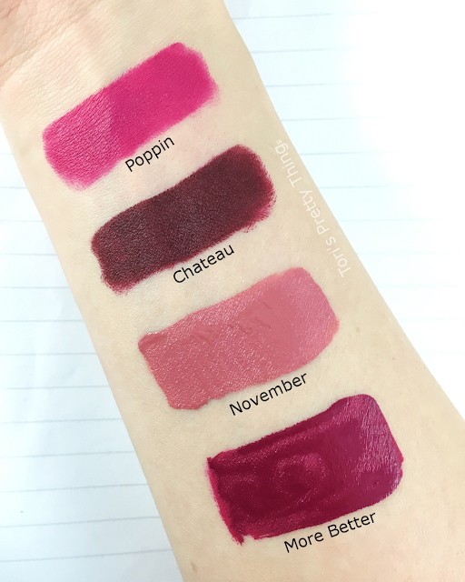 Colour Pop Poppin, Chateau, November and More Better Swatch