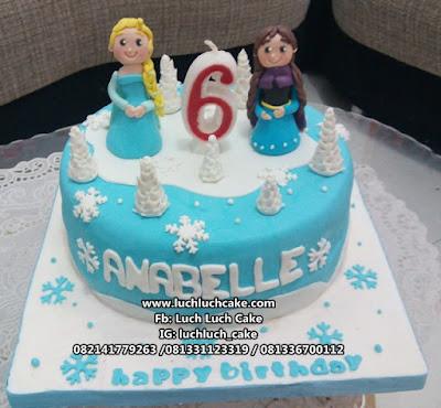 Frozen Elsa, Anna and Olaf Fondant Birthday Cake