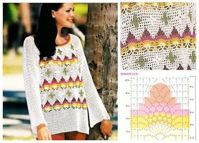 Suéter con piñas multicolor a ganchillo