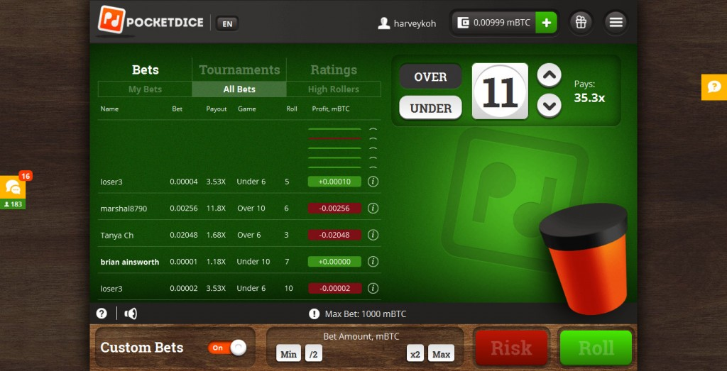 Pocket Dice Review - Play Dice Games with Bitcoin Currency
