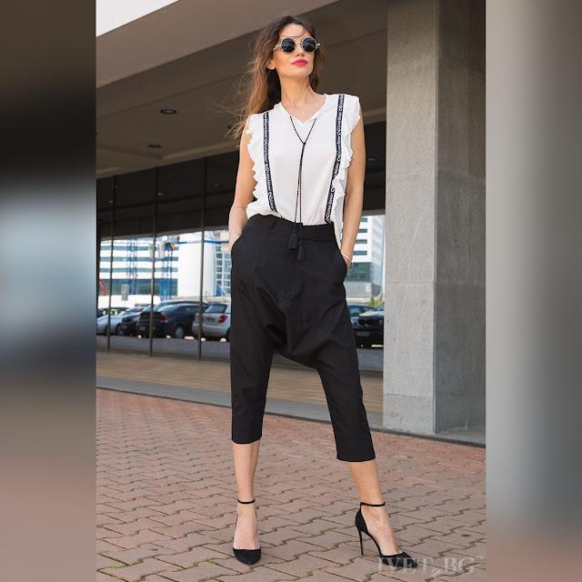 Γυναικείο μαύρο παντελόνι βράκα THELMA