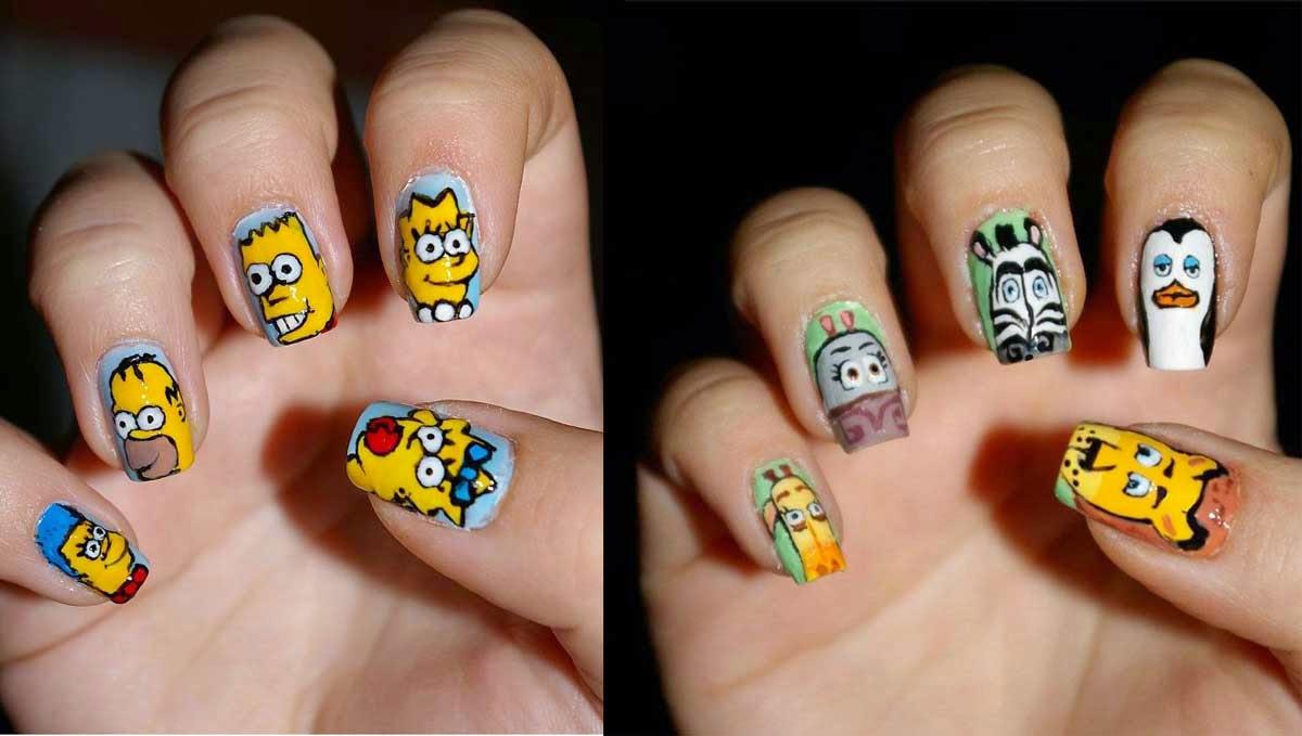Imagenes de uñas decoradas con los Simpson y Madagascar.