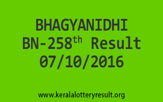 BHAGYANIDHI BN 258 Lottery Results 7-10-2016