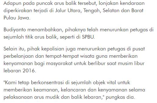 Informasi dari Polda Metro : Jika Bahwasannya Pucak Arus Balik Akan Terjadi Sore ini - Commando