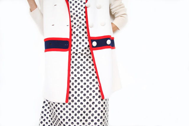 vintage Givenchy dress and vintage cream, navy coat with red trim