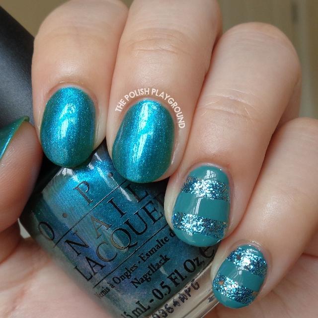 Concrete And Nail Polish Striped Nail Art: The Polish Playground: Blue Glitter Stripes Nail Art