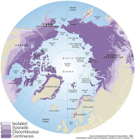 Permafrost distribution in the Arctic (Credit Source: Philippe Rekacewicz, 2005. The Effect of Climate Change on Permafrost) Click to Enlarge.