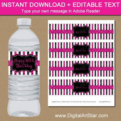 printable 40th birthday water bottle labels in fuchsia and black glitter