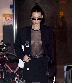Bella Hadid  exposed in transparent  T shirt  kess  CEleBrity.co Exclusive 06