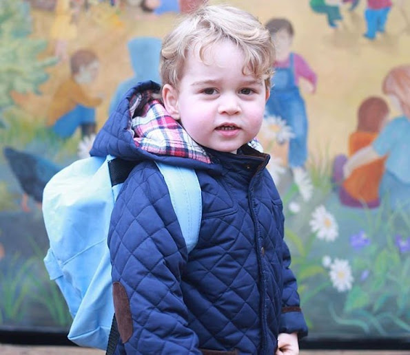 Prince William,and Kate Middleton have released two photographs to mark the occasion. They show Prince George standing in front of the mural on the outside of the nursery building