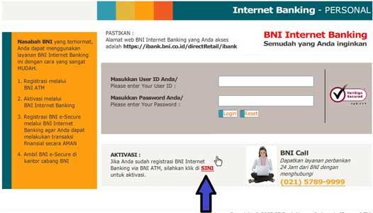 Aktivasi BNI Internet Banking