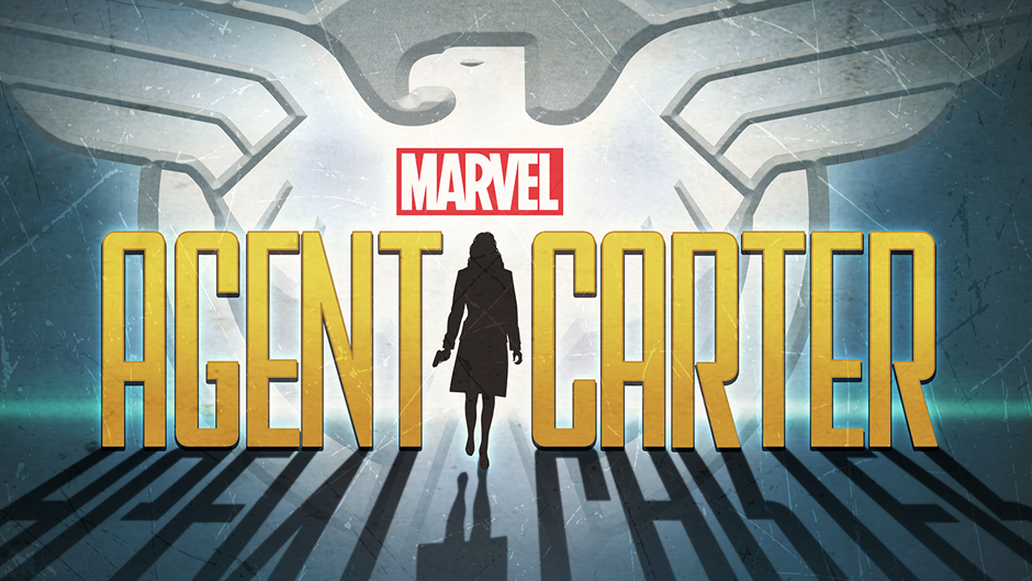 Agent Carter, in silhouette and backlit, emerging from giant logo