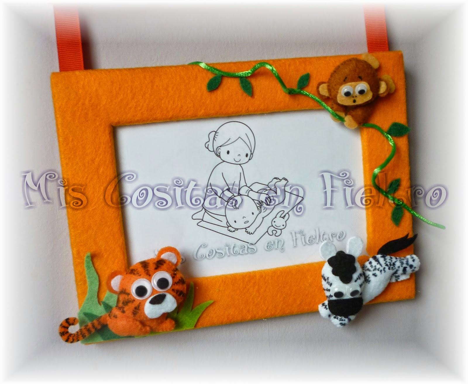 marco de fotos, portafotos, fieltro, animales, selva, león,   mono, lemur, jirafa, cebra, nombre, elefante, hipopótamo,
