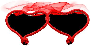 Moldura Dia dos Namorados 2 corações entrelaçados in red 3 png
