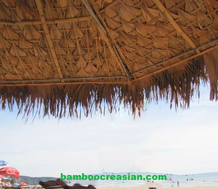 9 Ft Asian Thatch Umbrella Solid Bamboo Frame Palapa Set