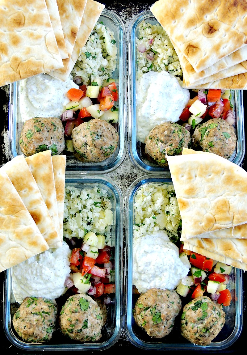 MEDITERRANEAN MEATBALLS WITH TZATZIKI OVER CAULIFLOWER RICE Make meal prep healthy and delicious with these Mediterranean Meatballs with Tzatziki Over Cauliflower Rice. #mealprep #healthy #meatballs #beef #bestangusbeef #cauliflowerrice #cauliflower | bobbiskozykitchen.com