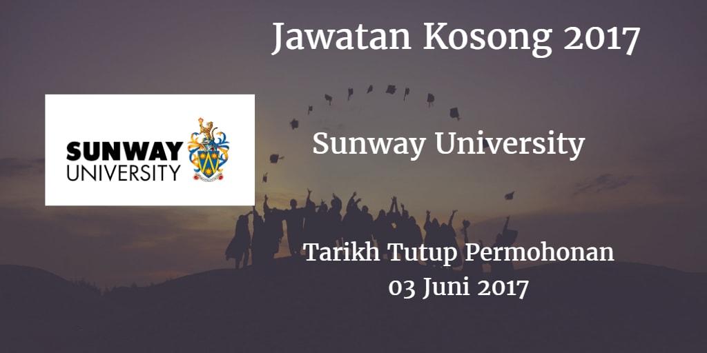 Jawatan Kosong Sunway University 03 Juni 2017