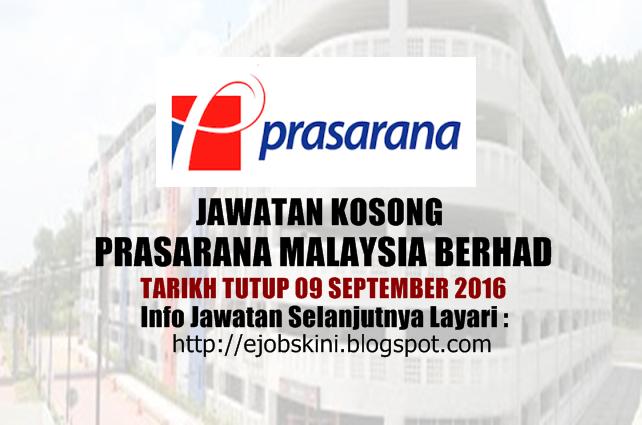 Jawatan kosong di prasarana malaysia berhad september 2016