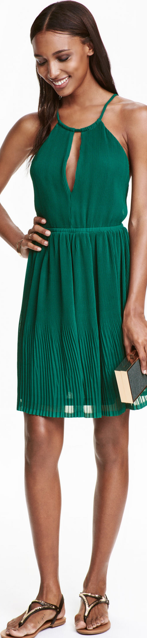 H&M Pleated Halterneck Dress Dark Green